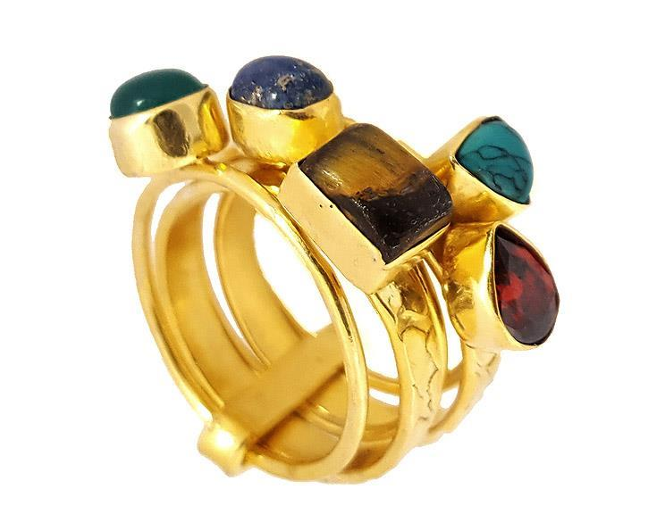 Ring - Brons 5 stenar (6 pack)