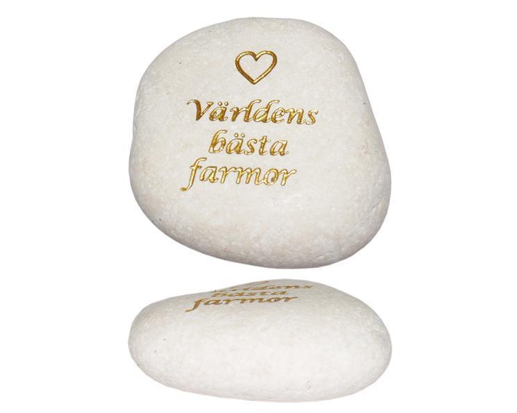 Vit sten - Världens bästa farmor guld (6 pack)