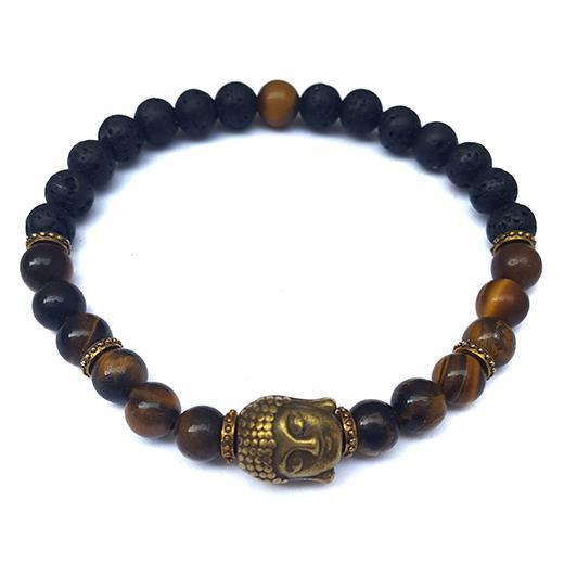 Armband - Buddha tigeröga & vulkansten (3 pack)