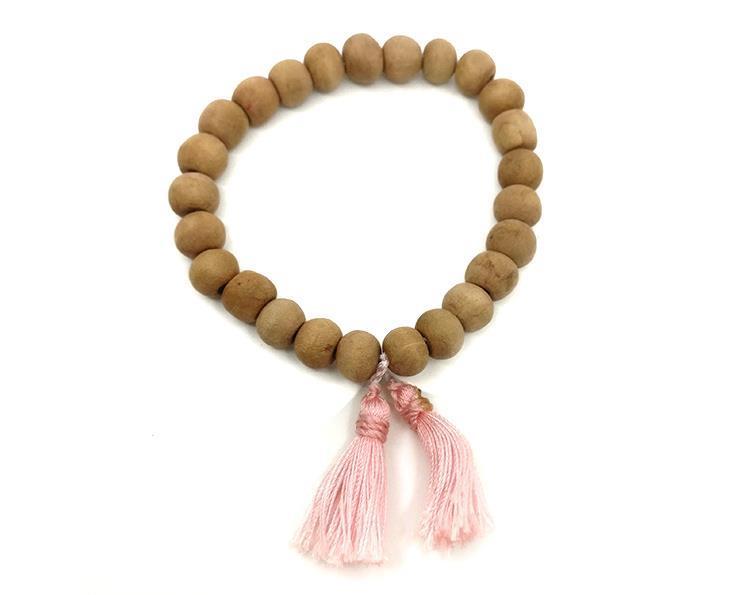 Mala - Armband trä rosa tofs (10 pack)
