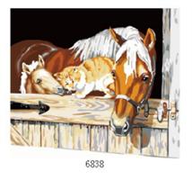 Male etter nummer, Hest i stall 40*50cm (6838)