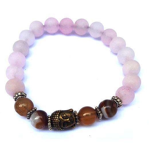 Armband - Buddha med rosenkvarts & agat (3 pack)