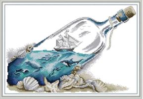 Broderi korssting, Flaskepost 54*38cm (J493)