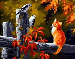 Mal eller nummer, Katt på gjerde m/ramme 40*50cm