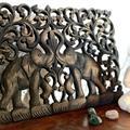 Träsniderier - Tavla elefanter (2 pack)