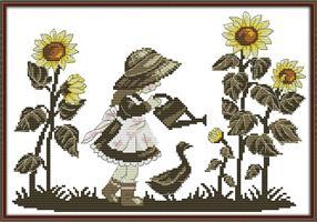 Broderi korssting, Pike vanner blomster 46*35cm (RA153)