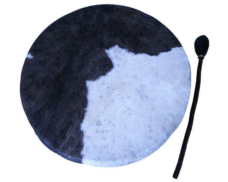 Shamantrumma - Svart & vitt skinn 50cm (2 pack)