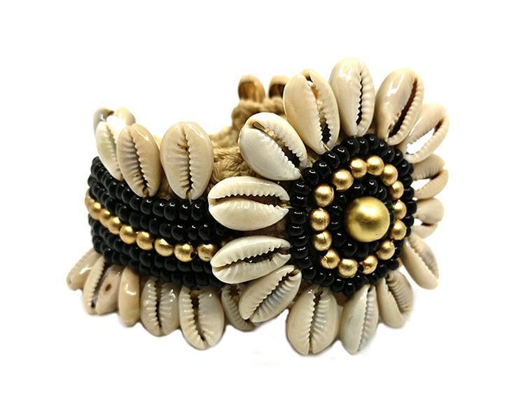 Armband - Cowry blomma svart (4 pack)