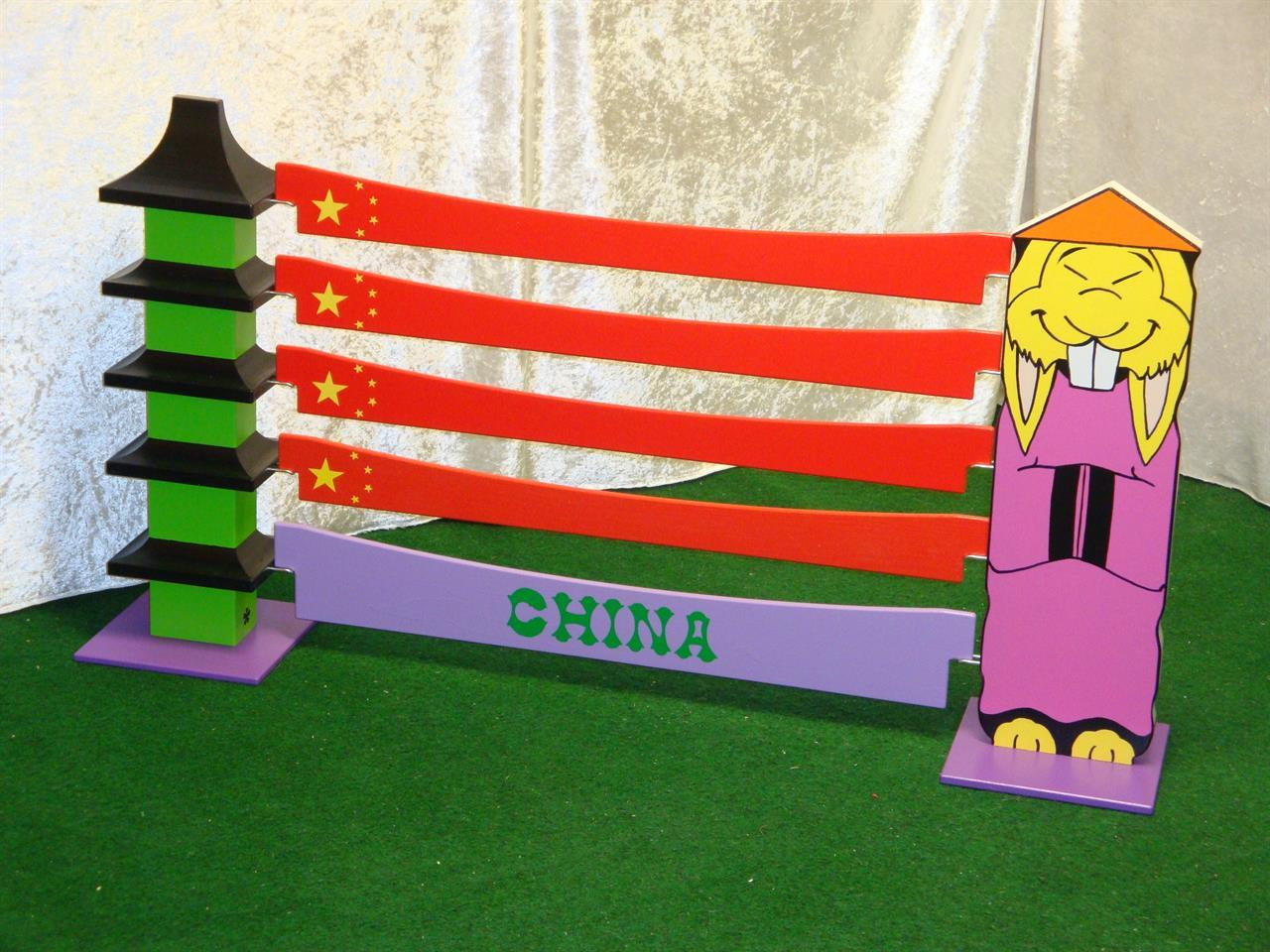 Kina enkel, hus med rosa kines