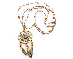 Halsband - Drömfångare pärlor orange (4 pack)