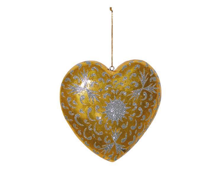Träsniderier - Hjärta i guld & glitter (6 pack)