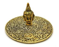 Rökelsehållare - Fat Buddha ansikte guld (6 pack)