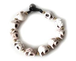 Armband - Stor vit skalle (4 pack)