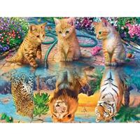 Diamond Painting, 3 katter med speilbilde løve 50*40cm FPR