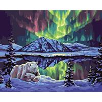 Mal eller nummer, Isbjørn i nordlys 50*40cm (YC2325)