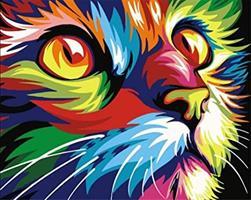Mal eller nummer, Fargerik katt 50*40cm