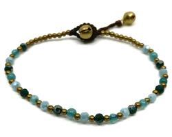 Armband - Mässing & pärlor blå (6 pack)