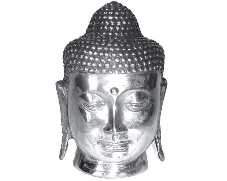 Brons - Silver Buddha ansikte 16cm (4 pack)