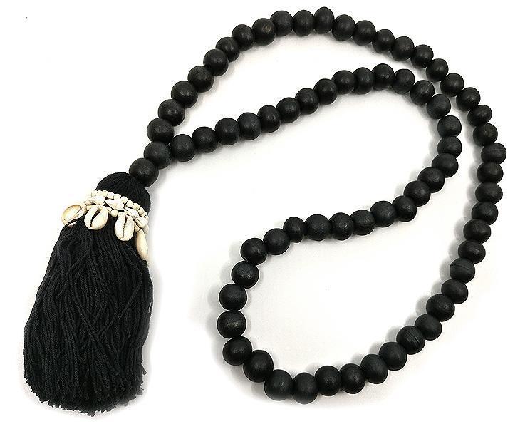 Papua - Trähalsband med tassle svart (4 pack)