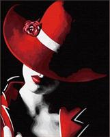 Mal etter nummer, Dame m/rød hatt 40*50cm