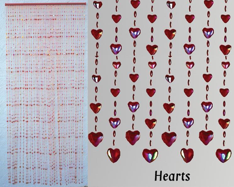 Draperi - Plast hjärtan (10 pack)
