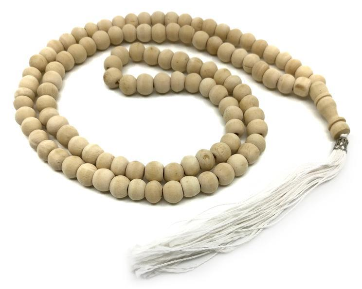 Mala - Halsband trä vit tofs (10 pack)