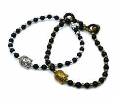 Armband - Buddha svart mix (4 pack)