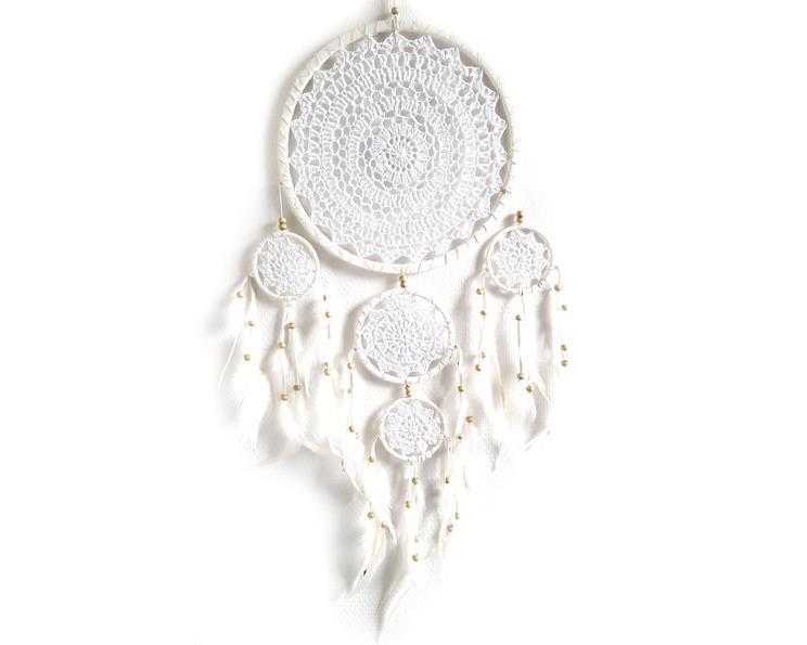 Drömfångare - Makramé 5 ringar vit (6 pack)