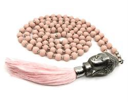 Halsband - Buddha träpärlor rosa (6 pack)