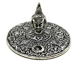 Rökelsehållare - Fat Buddha ansikte silver (6pack)