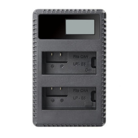 Dobbeltlader for Canon LP-E8 batterier m/Disp