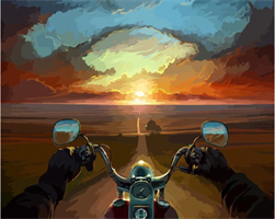 Mal eller nummer, Motorsykkel i solnedgang 40*50cm