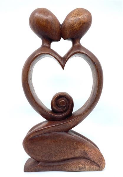 Träsniderier - Par kärlek hjärta 30cm (2 pack)