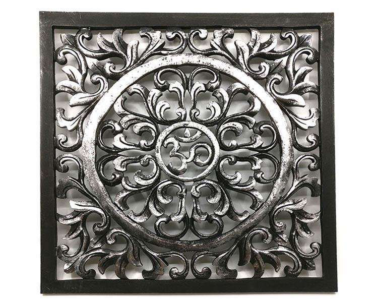 Tempeltavla - OM svart & silver S (2 pack)