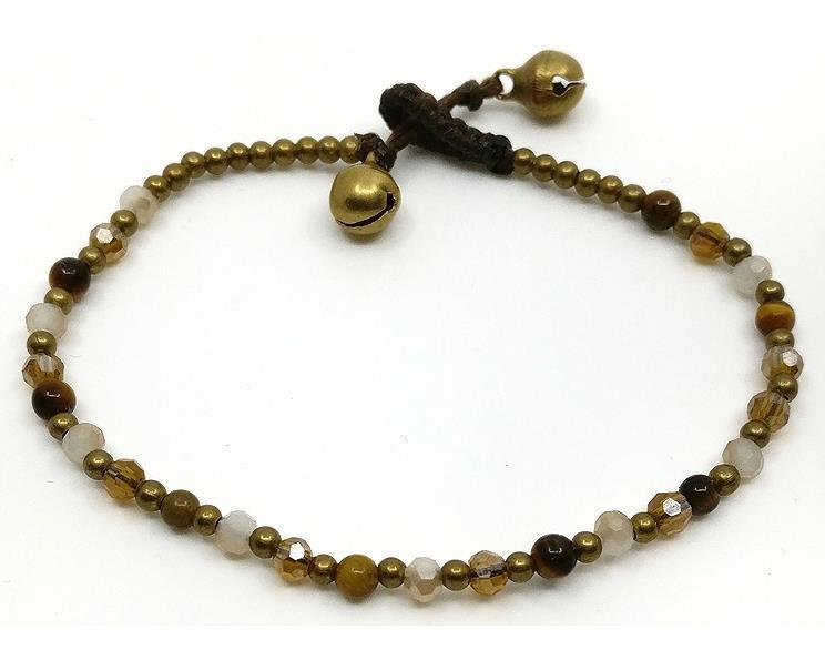 Armband - Mässing & pärlor brun (6 pack)