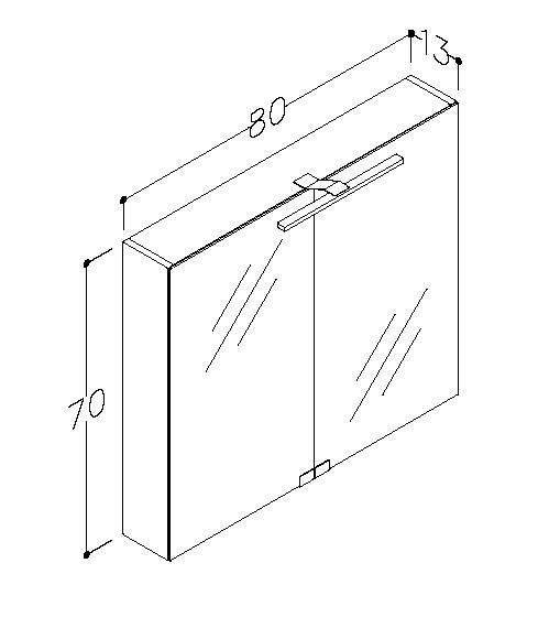 Spegelskåp Garda 80 cm