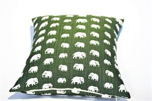 Kuddfodral mossgrönt med elefanter 50x50 dubbel