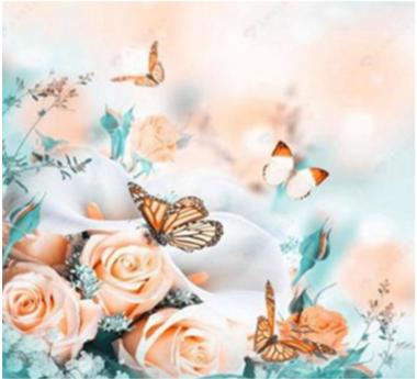 Diamond Painting, Pastellfarget blomster 39*49,5cm FPR
