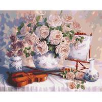 Diamond Painting, Hvite roser 40*50cm, kvadrat FPK