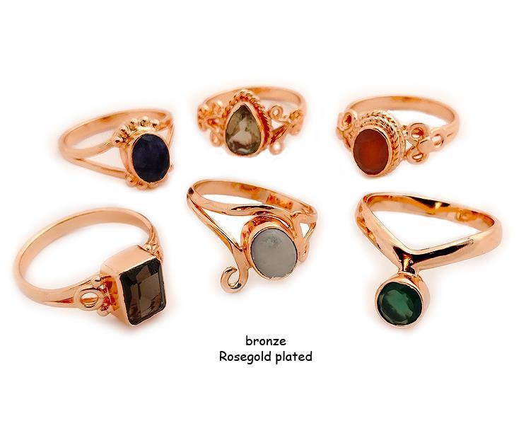 Ring - Brons rosegold pläterad mix (6 pack)