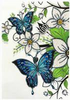 Diamond Painting, Sommerfugl i blomst 25*35cm (R8522) AP