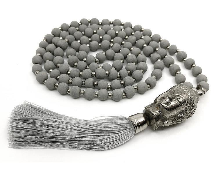 Mala - Buddha 108 pärlor grå (4 pack)