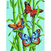 Diamond Painting, Sommerfugl i strå 40*50cm, kvadrat FPK