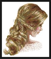 """Broderi korssting, Dame """"Beautiful hair"""" 35*39cm (RA247)"""