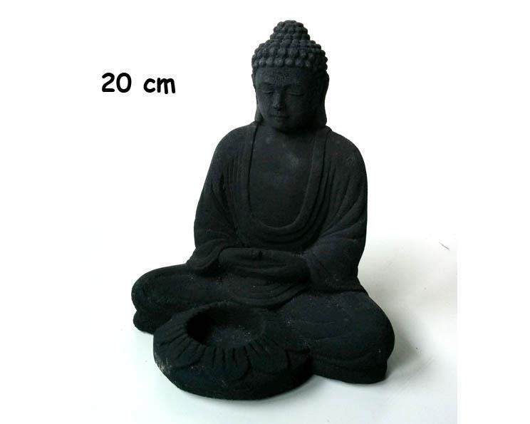 Buddha - Ljusstake svart 20cm (4 pack)