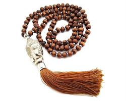 Halsband - Buddha träpärlor brun (6 pack)