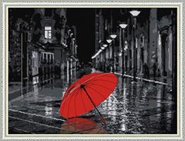 Broderi korssting, Rød paraply 65*51cm (F974)