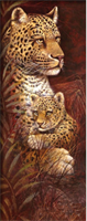 Diamond Painting, Leopard m/barn 20*50cm (A0161) FPR