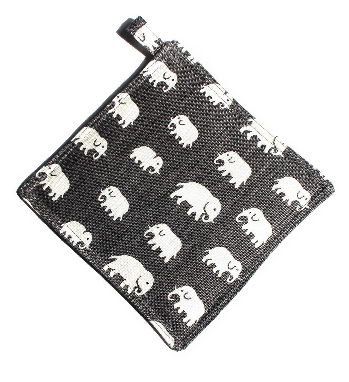 Grytlapp grå med elefanter