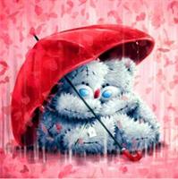 Diamond Painting, Teddybjørner m/paraply 50*50cm FPR